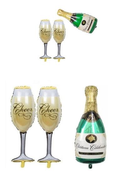 Globo Botella Champagne + 2 Copas Grandes + 3 De Mano