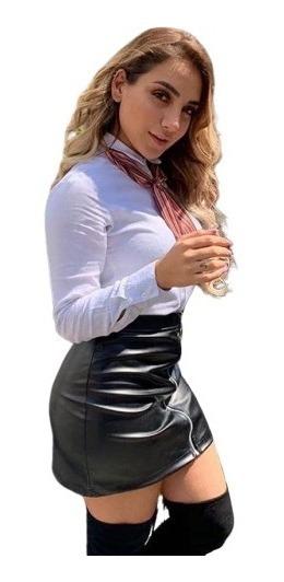 Falda Vinipiel Sexy Moda Mujer Cierre