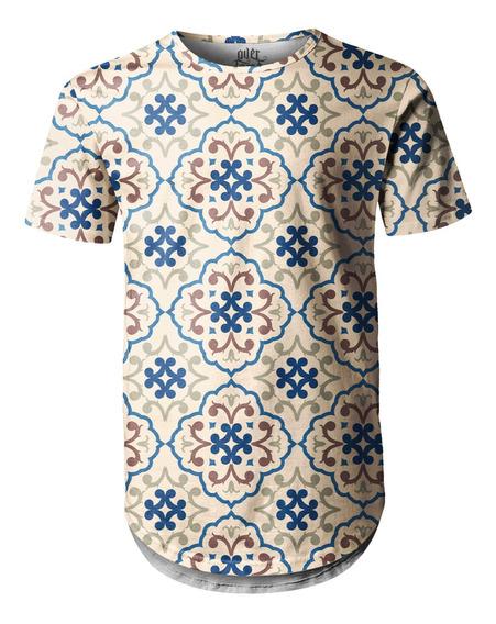 Camiseta Masculina Longline Swag Estampa De Azulejos