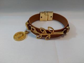 Pulseira Bracelete Flor De Lis Com Couro Semi Joia Numero 28