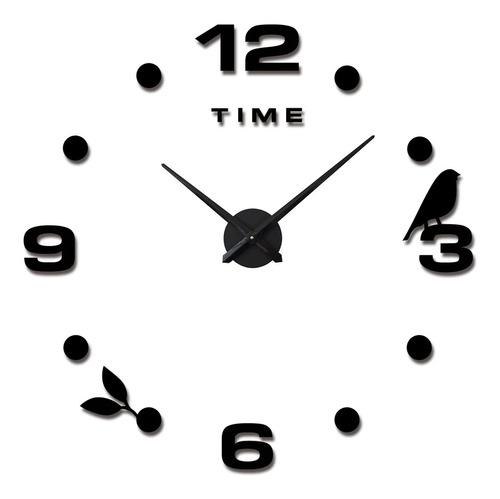 Reloj De Pared 3d  Negro Grande Diseño Moderno