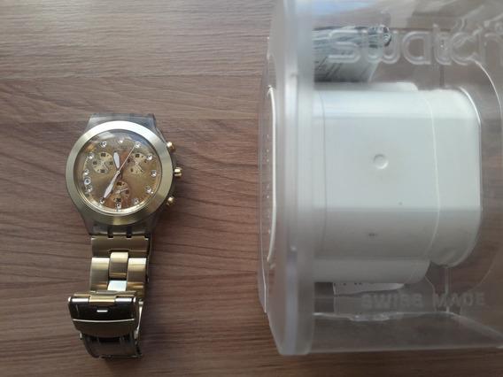 Relógio Swatch Dourado Full Blooded Irony Diaphane Usado