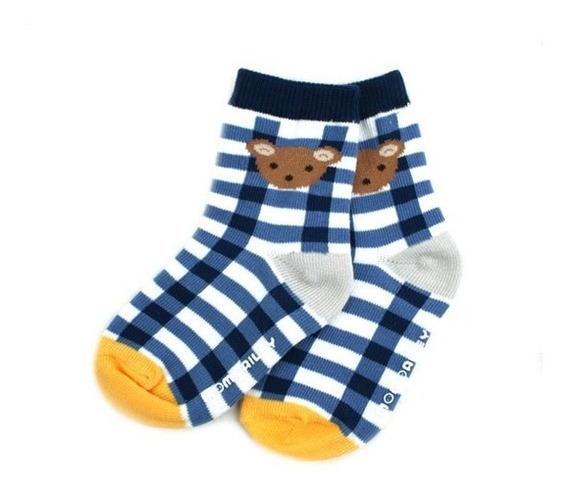 Meia Infantil Azul Xadrez Urso - Momoailey