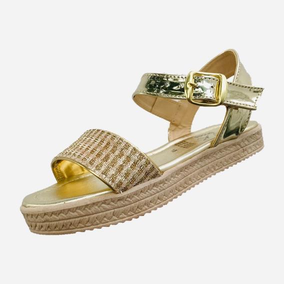 Sandalia Huarache Msk Shoes 302 Niña Oro Sintetico Moda