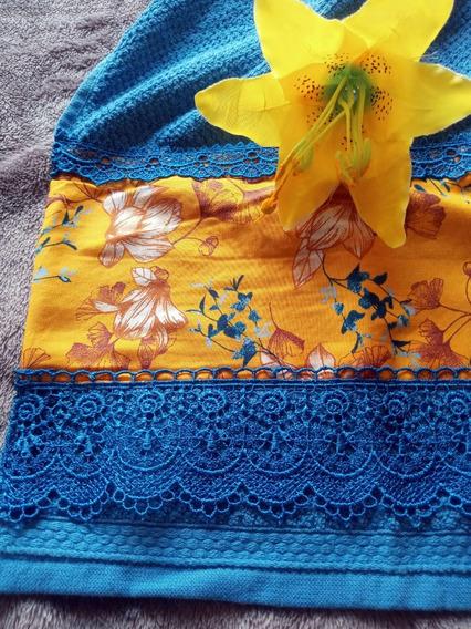 Toalha De Rosto Caribe Azul 48x70cm Com Tricoline E Guipir