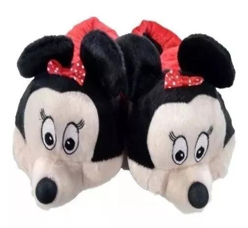 Kit Com 2 Pantufas Divertidas Mickey Minie Pluto E Sua Turma