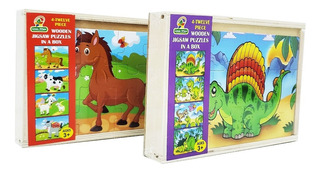Puzzle Caja X4 Rompecabezas Infantil Madera Cod 588 Bigshop