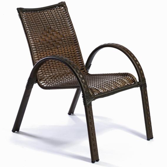 Cadeira Poltrona Em Junco Fibra Sintética E Aço P/ Varanda
