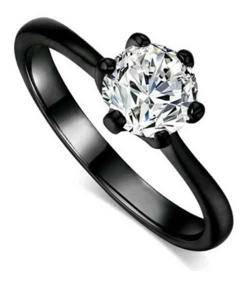 Anillo De Compromiso Baño Oro Negro 18k Diamante+envio