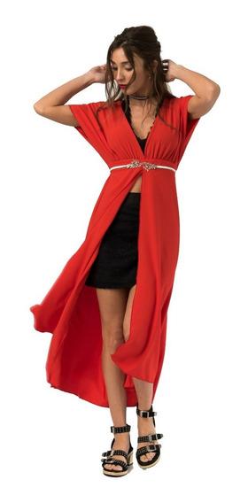 Vestido Largo Tunica Rojo Escote En V Manga Corta De Fiesta