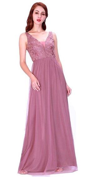 Vestido Madrinha Festa Bordado Com Pérolas Longo Rosé