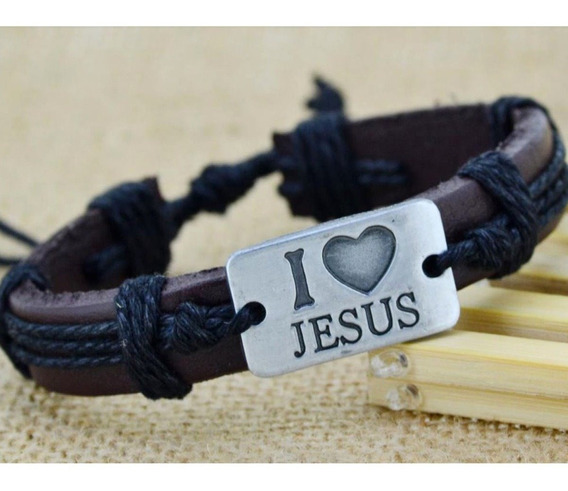 Pulseira Feminina Masculina Couro I Love Jesus Gospel