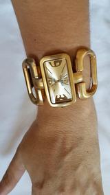 Relógio Retangular Dourado