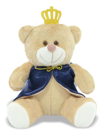 Urso Pelúcia Principe Coroa Com Capa Azul 20 Cm