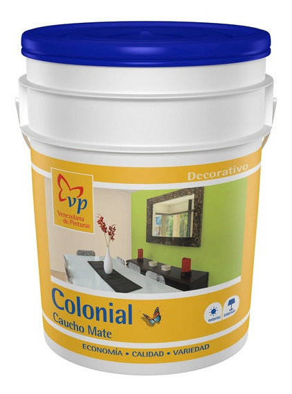 Pintura Caucho Mate Colonial Blanco Intenso 4 Galones Vp