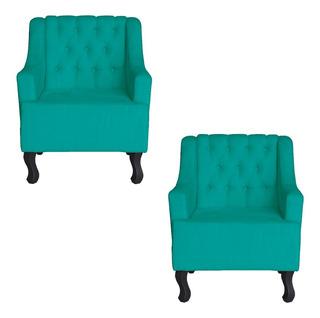 Kit 02 Cadeira Poltrona Escritorio Recepção Dante Azul