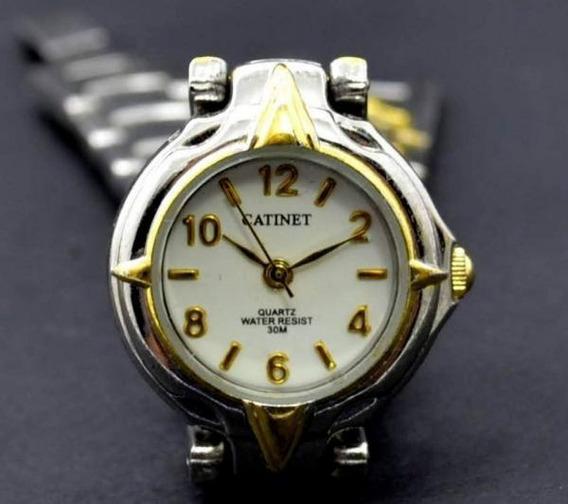 Relógio Feminino Pulseira Metal Ouro Prata Catinet Quartz 30