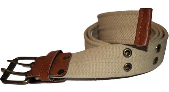 Cinturón De Lona Tela Resistente Con Ojales Para Hombre