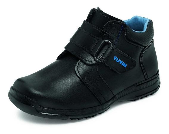 Zapato Escolar Para Niño Yuyin 29152 Negro 15-17.5