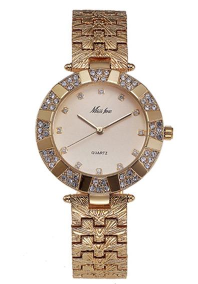 Reloj Mujer De Lujo Pulsera Gemas Plateadas Y Hebilla De Oro