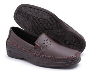 Sapato Feminino Mocassim Costurado Salto Anabela Couro Macio