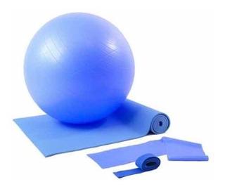 Kit Treino Yoga Com Bola Suíça Azul Wct Fitness 500102