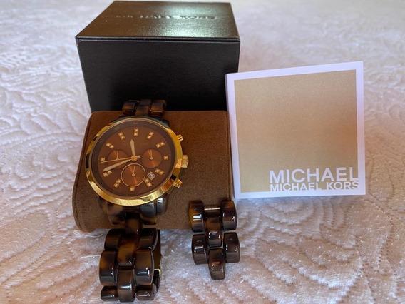 Relógio Michael Kors Mk 5216 - Marrom Escuro - Pouco Usado