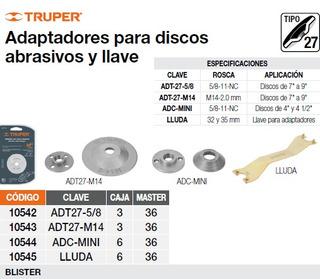 Adaptadores Tipo27 Disco Abrasivos Disco 4 Y 4 1/2pg Truper