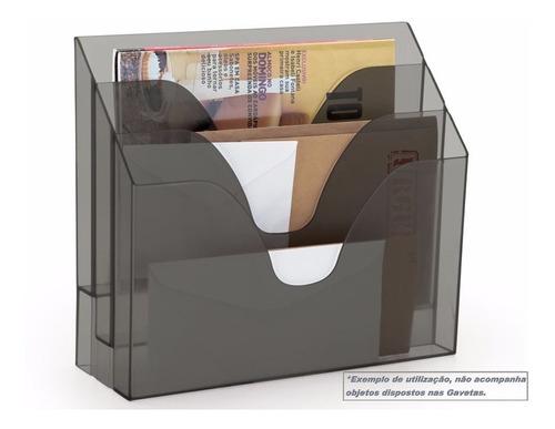 Display Porta Folha Organizador Triplo - Fumê Transparente