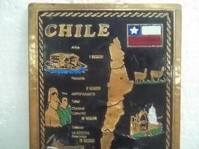 Mapa Do Chile Em Cobre 42 X 18 Cm