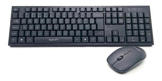 Kit Teclado E Mouse Wireless Sem Fio Usb Exbom Abnt-2 S370