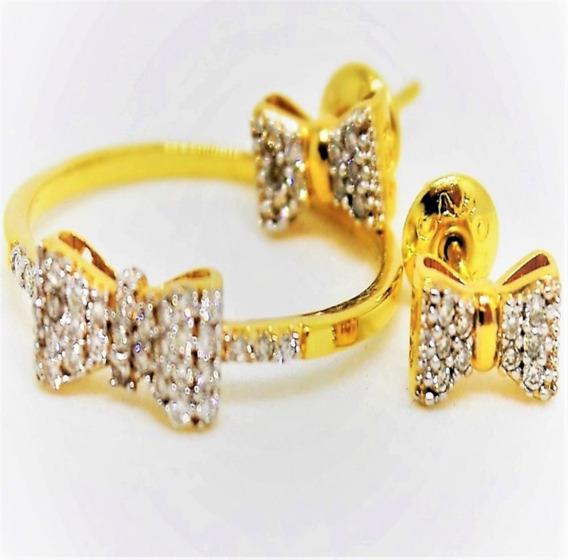 Conjunto Laço Diamante 18k 3,19g Frete Grátis