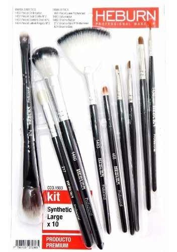 Kit Heburn Pinceles 1503 Brochas Maquillaje Large Set X 10