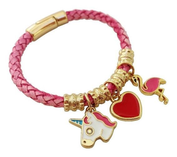 Pulseira Couro Infantil Pingente Unicornio Flamingo Coração