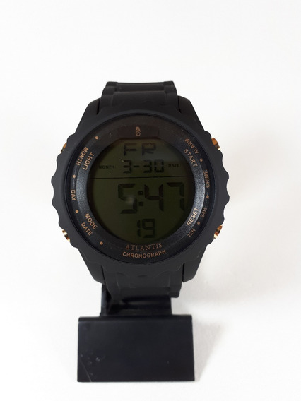 Relógio Original Atlantis Masculino Borracha Preto Macio Top
