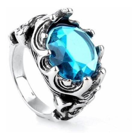 Anel Pedra Azul Aro 28 Aço 316l