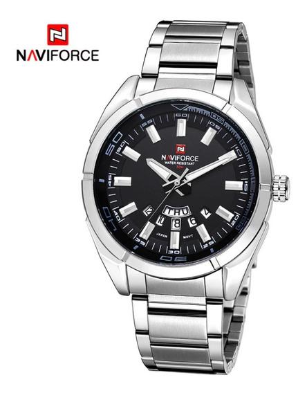 Relógio De Aço Masculino Original Naviforce Modelo Silver