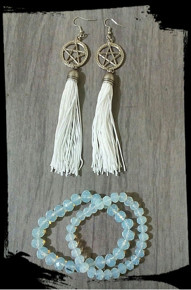 Conjunto Brinco E Pulseiras Bruxa Lunar Pentagrama E Cristal