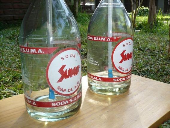 Pareja 2 Sifones Vidrio Grueso Vintag Retro Decora Juego Par