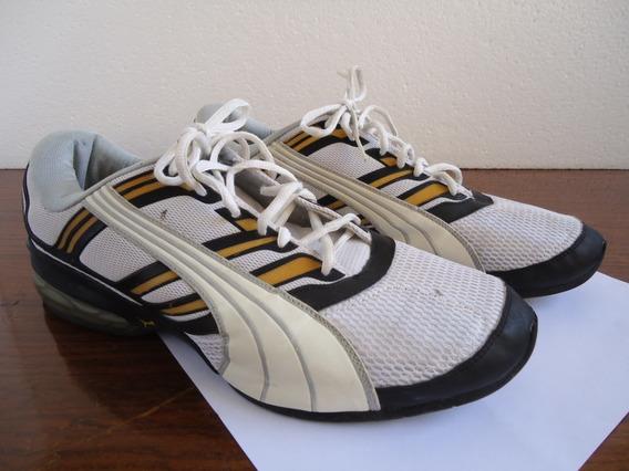 Tênis Puma Preto/amarelo/branco Amortecedor Nº45 Semi-novo