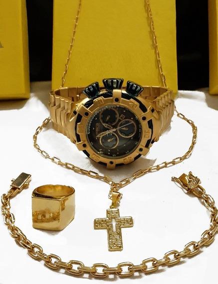 Relógio De Pulso Masculino Dourado +cordão+pulseira+dedeira
