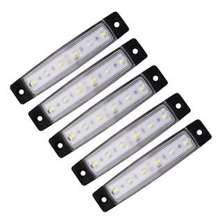5 Lanternas 6 Leds Branco 12v Caminhão Carretinhas Baú