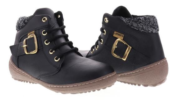 Zapatos Botin Dama Tacon Ancho Mujer Sintetico Negro Y Cafe