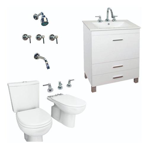 Imagen 1 de 7 de Combo Inodoro Set Baño Vanitory Griferia Monocomando Canilla
