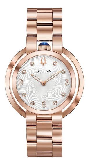 Relógio Feminino Bulova Rubaiyat Aço Rosegold 97p130