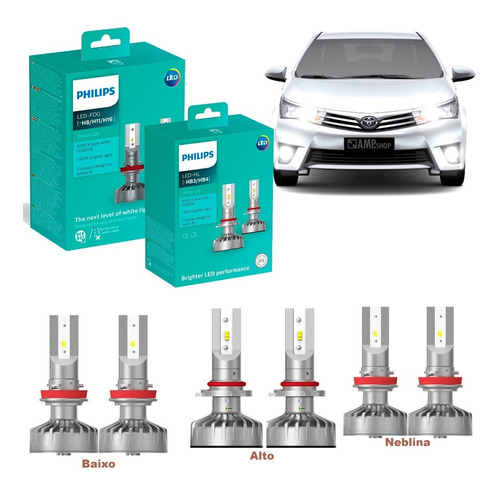 Kit Super Led Philips Hb4 + Hb3 + H11 + T10 Toyota Corolla
