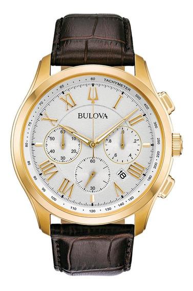 Relógio Masculino Bulova Wilton Quartz Dourado/marrom 97b169