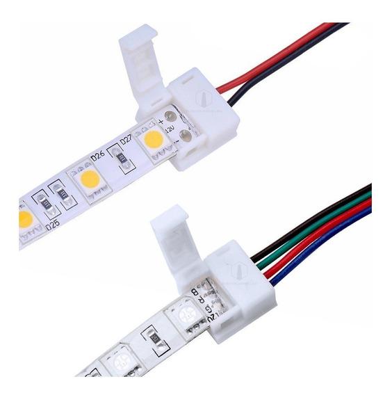 Conector Led Tipo Prensa Con Cables Tira 2835 5050 Rgb Monocromatica