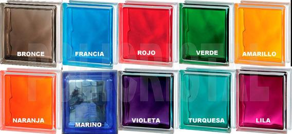 Ladrillos De Vidrio Nube Colores Intensos 19x19x8cm Unicos!!