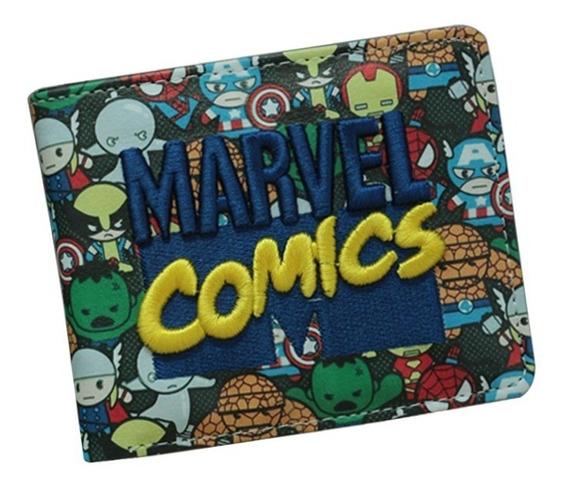 Billetera Marvel Comics Multiples Bolsillos Goma / Cuero